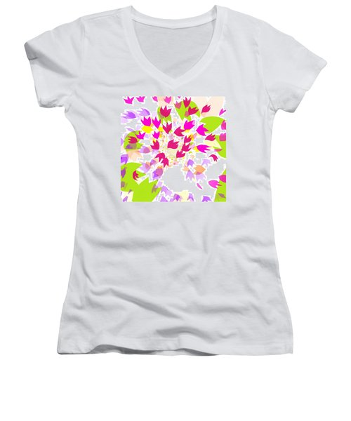 Falling Leaves Women's V-Neck T-Shirt (Junior Cut) by Barbara Moignard