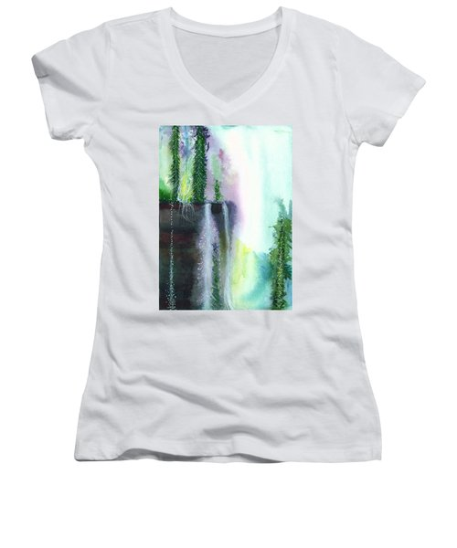Falling Waters 1 Women's V-Neck T-Shirt (Junior Cut) by Anil Nene