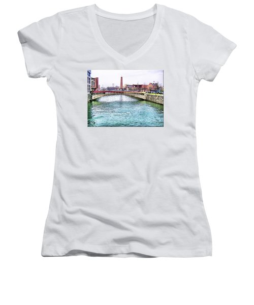 Women's V-Neck T-Shirt (Junior Cut) featuring the photograph Fallswalk And Shot Tower by Brian Wallace