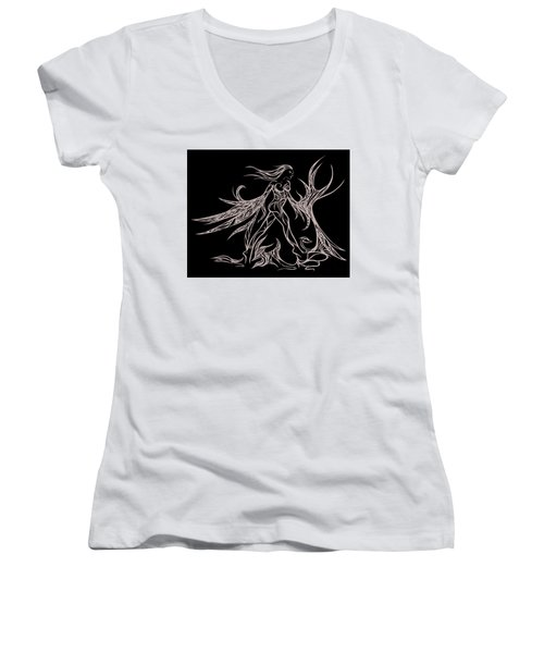 Fancy Flight  Women's V-Neck T-Shirt (Junior Cut) by Jamie Lynn