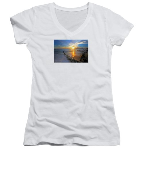 Far Out To Sea Women's V-Neck T-Shirt (Junior Cut) by James Roemmling