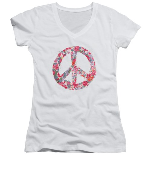 Women's V-Neck T-Shirt (Junior Cut) featuring the digital art Far Too Pretty Peace Symbol #1 by Nola Lee Kelsey