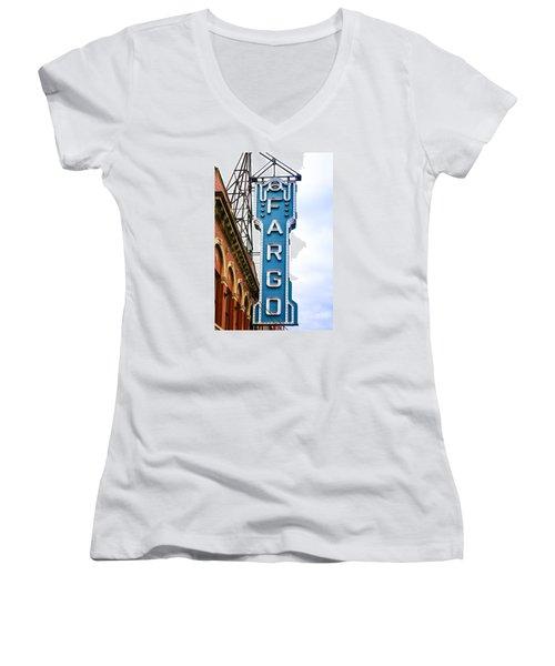 Fargo Blue Theater Sign Women's V-Neck T-Shirt (Junior Cut) by Chris Smith