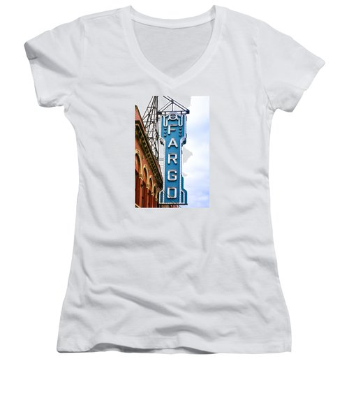 Fargo Blue Theater Sign Women's V-Neck T-Shirt