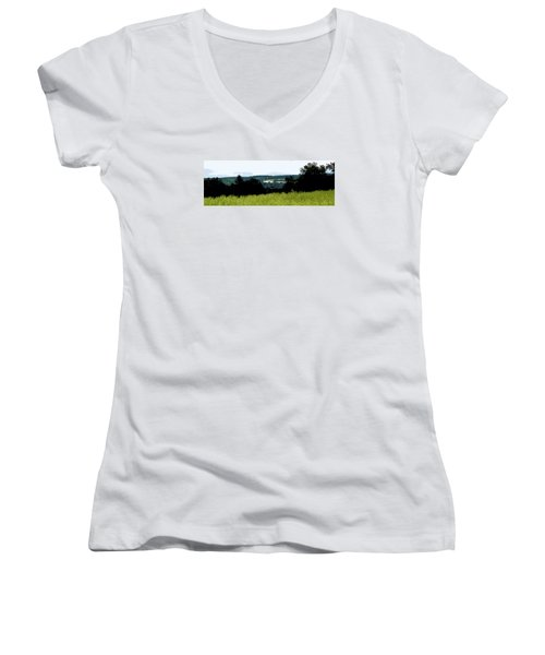 Women's V-Neck T-Shirt (Junior Cut) featuring the photograph Farm In The Valley by Spyder Webb