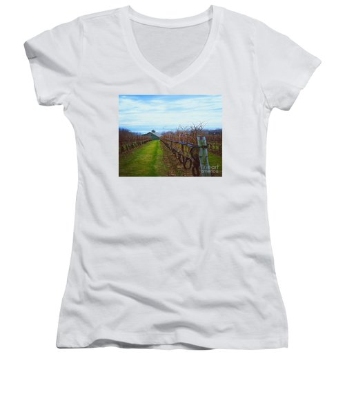 Women's V-Neck T-Shirt (Junior Cut) featuring the photograph Farm by Raymond Earley
