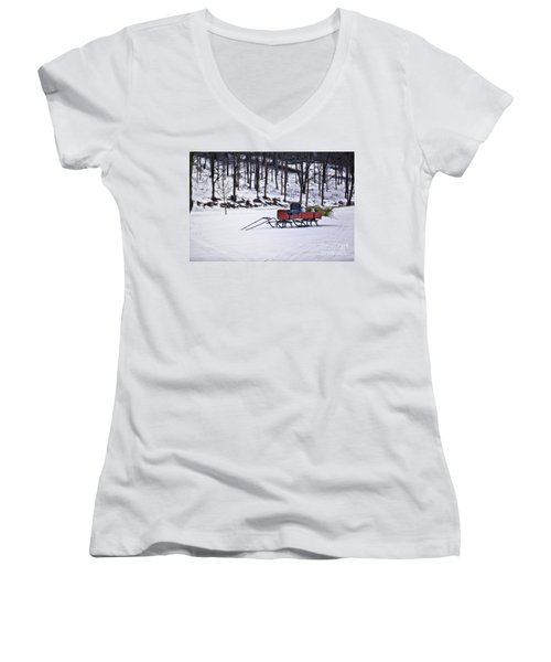 Farm Sleigh Women's V-Neck T-Shirt (Junior Cut) by Nicki McManus