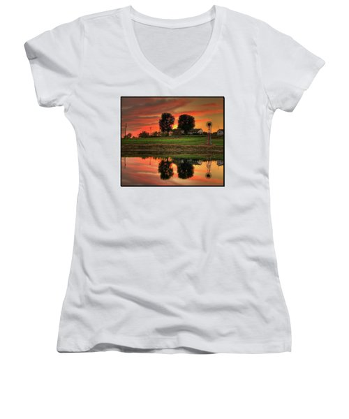 Farm Sunset Women's V-Neck T-Shirt (Junior Cut) by Farol Tomson