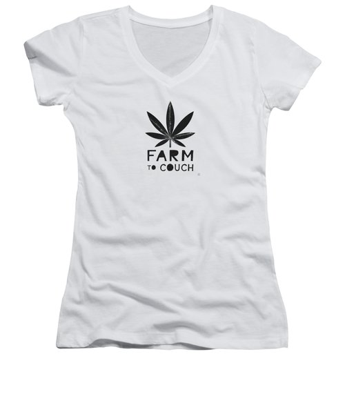 Farm To Couch Black And White- Cannabis Art By Linda Woods Women's V-Neck (Athletic Fit)