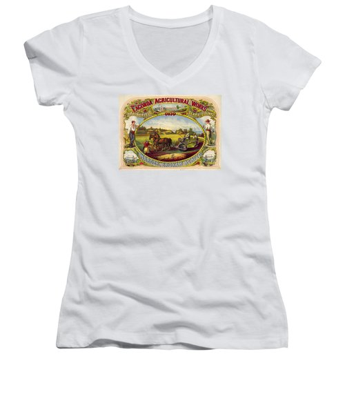 Farm Tools Ad 1859 Women's V-Neck T-Shirt (Junior Cut) by Padre Art