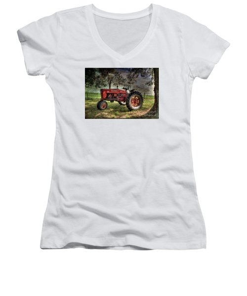 Farmall In The Field Women's V-Neck T-Shirt (Junior Cut) by Michael Eingle