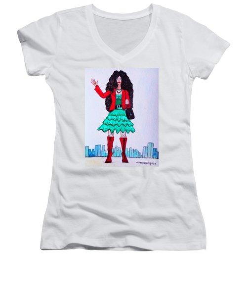 Fashionist Hailing A Taxi Women's V-Neck T-Shirt (Junior Cut) by Don Pedro De Gracia
