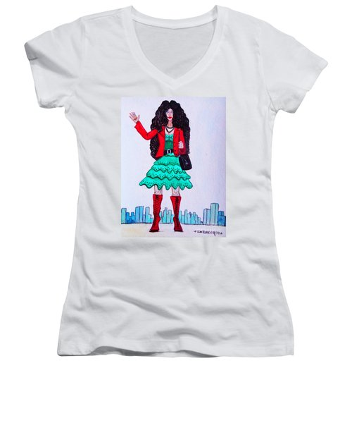 Fashionist Hailing A Taxi Women's V-Neck T-Shirt