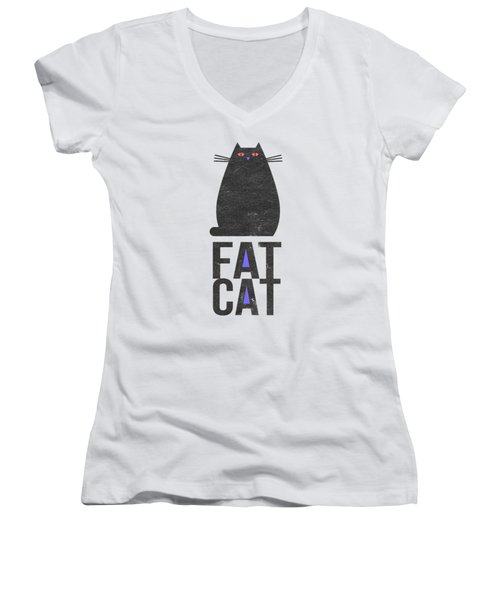 Women's V-Neck T-Shirt (Junior Cut) featuring the drawing Fat Cat by Edward Fielding