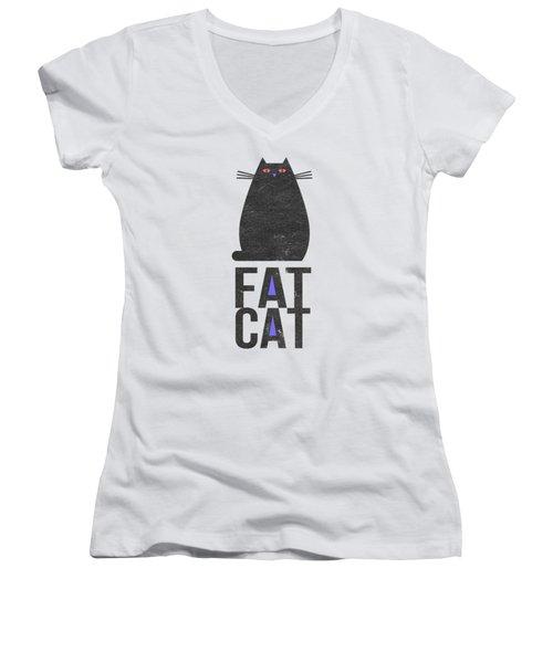 Fat Cat Women's V-Neck T-Shirt (Junior Cut) by Edward Fielding