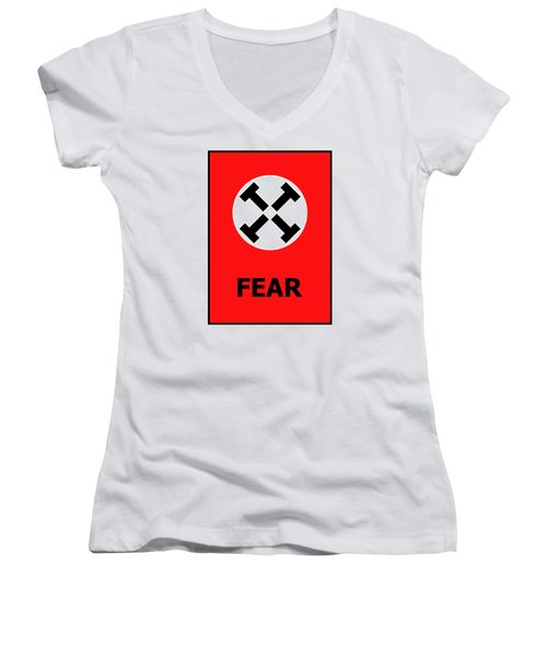 Fear Women's V-Neck T-Shirt (Junior Cut) by Richard Reeve
