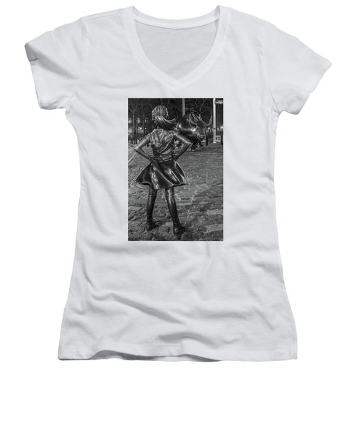 Fearless Girl And Charging Bull Nyc Women's V-Neck (Athletic Fit)