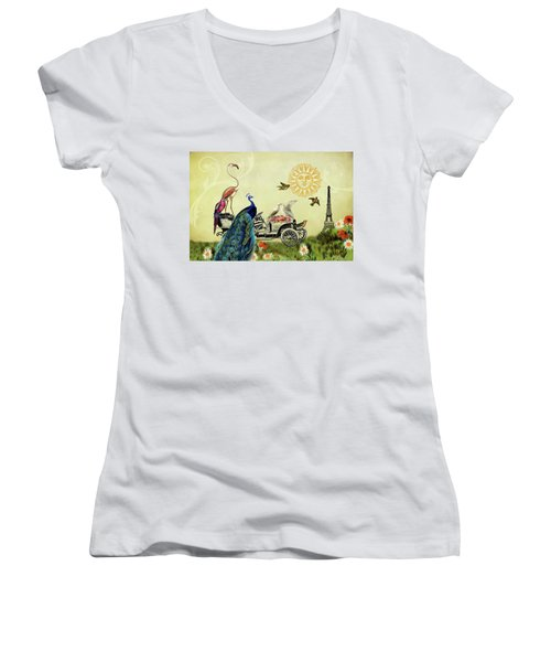 Feathered Friends In Paris, France Women's V-Neck T-Shirt (Junior Cut) by Peggy Collins