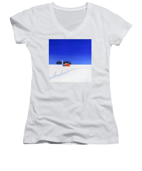 Women's V-Neck T-Shirt (Junior Cut) featuring the painting February Fields by Jo Appleby
