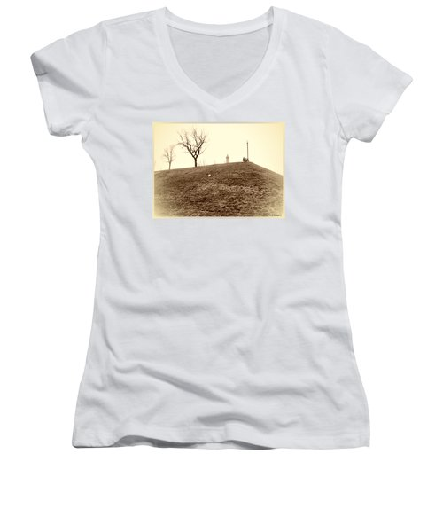 Women's V-Neck T-Shirt (Junior Cut) featuring the photograph Federal Hill by Brian Wallace