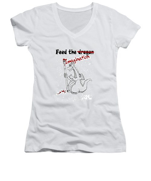 Feed The Imagination Women's V-Neck (Athletic Fit)