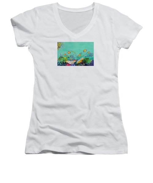 Women's V-Neck T-Shirt (Junior Cut) featuring the painting Feeding Time by Lyn Olsen