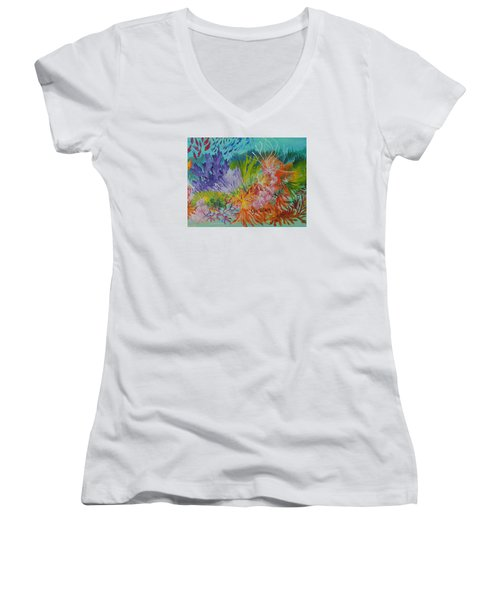 Women's V-Neck T-Shirt (Junior Cut) featuring the painting Feeding Time On The Reef #3 by Lyn Olsen