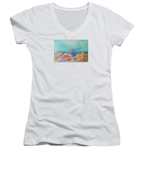 Women's V-Neck T-Shirt (Junior Cut) featuring the painting Feeding Time On The Reef by Lyn Olsen