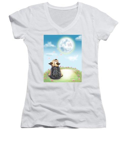 Feeling Love Women's V-Neck T-Shirt (Junior Cut) by Catia Cho