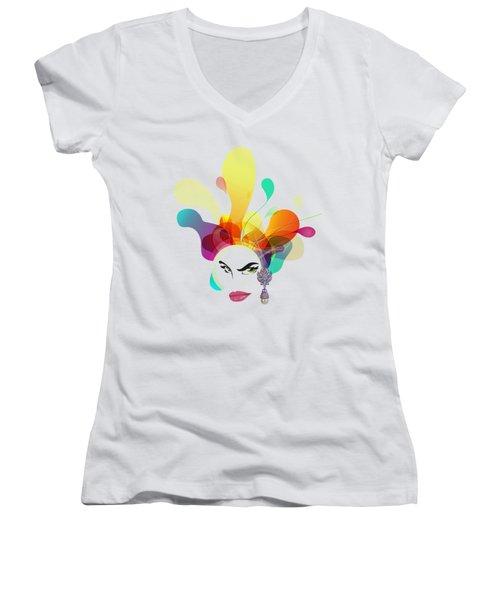 Female Face Abstract Women's V-Neck T-Shirt (Junior Cut) by Robert G Kernodle
