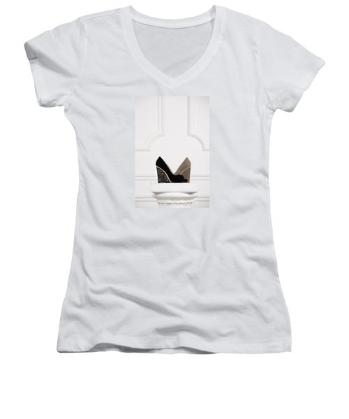 Women's V-Neck T-Shirt (Junior Cut) featuring the photograph Female Shoes by Andrey  Godyaykin