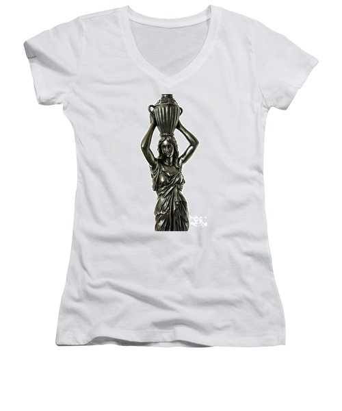 Female Water Goddess Bronze Statue 3288a Women's V-Neck (Athletic Fit)