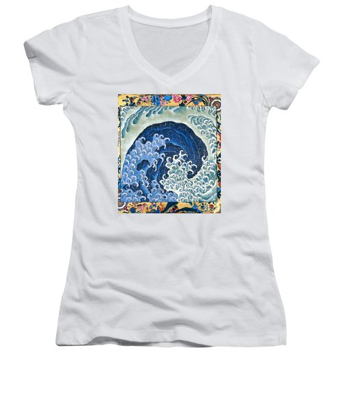Femenine Wave Women's V-Neck T-Shirt (Junior Cut) by Roberto Prusso
