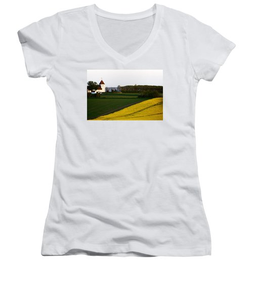 Femoe Fields And Church Women's V-Neck T-Shirt (Junior Cut) by Eric Nielsen