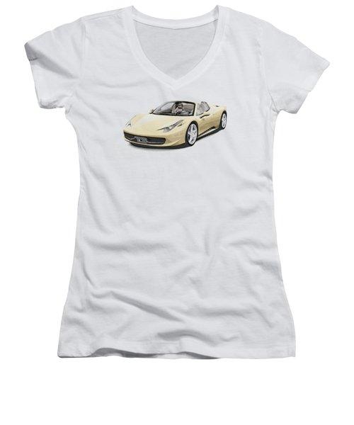 Ferrari 458 Spider - Parallel Hatching Women's V-Neck T-Shirt