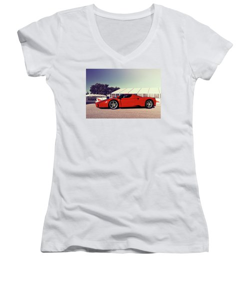 Women's V-Neck T-Shirt (Junior Cut) featuring the photograph Ferrari Enzo by Joel Witmeyer