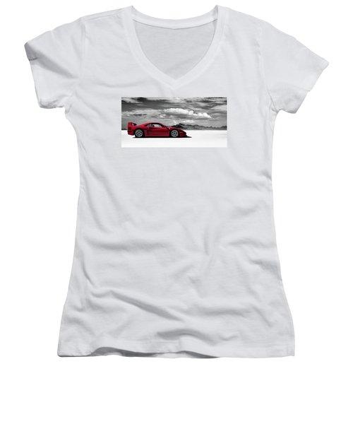 Ferrari F40 Women's V-Neck T-Shirt