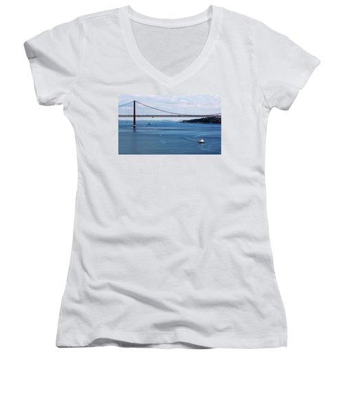 Ferry Across The Tagus Women's V-Neck T-Shirt (Junior Cut) by Lorraine Devon Wilke