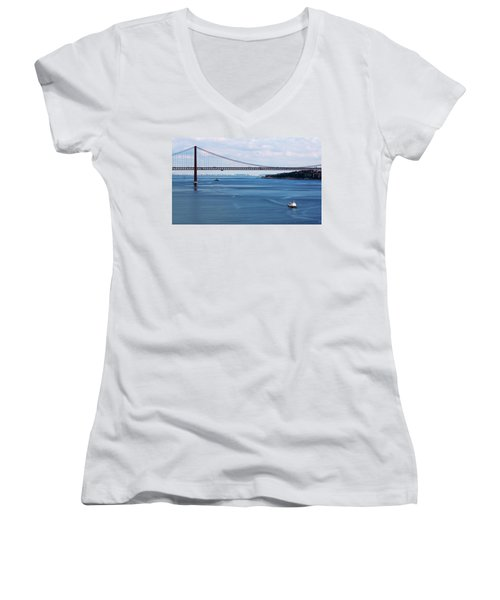 Women's V-Neck featuring the photograph Ferry Across The Tagus by Lorraine Devon Wilke