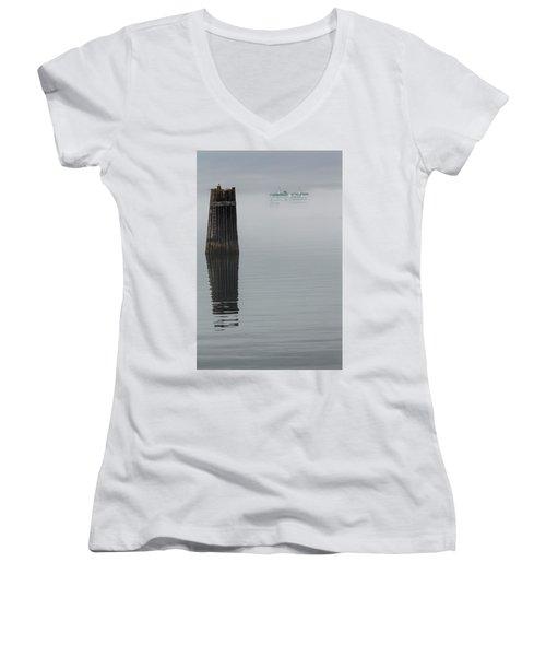 Ferry Hiding In The Fog Women's V-Neck T-Shirt (Junior Cut) by Tony Locke