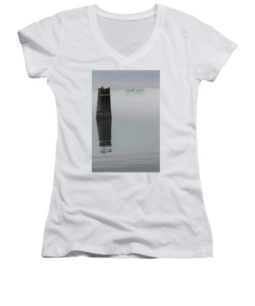 Ferry Hiding In The Fog Women's V-Neck (Athletic Fit)