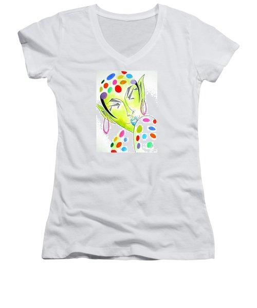 Fey -- The Original -- Fantasy Elf Portrait With Polka Dots Women's V-Neck T-Shirt
