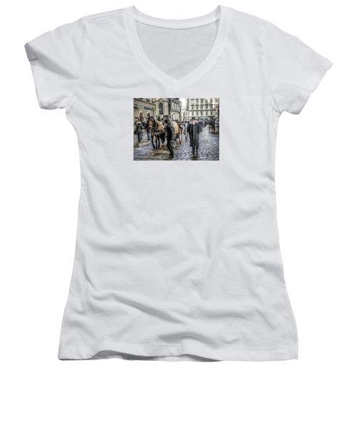 Women's V-Neck T-Shirt (Junior Cut) featuring the photograph Fiakers At Stephansplatz, Vienna by Brian Tarr