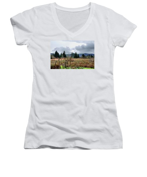 Field, Clouds, Distant Foggy Hills Women's V-Neck T-Shirt (Junior Cut) by Chriss Pagani