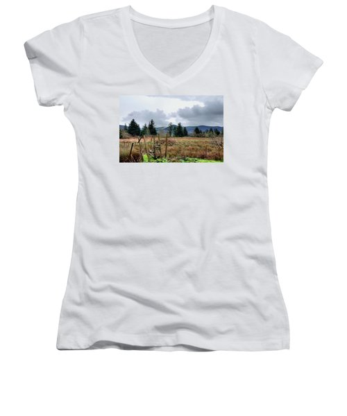 Field, Clouds, Distant Foggy Hills Women's V-Neck