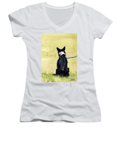 Women's V-Neck T-Shirt (Junior Cut) featuring the painting Field Greens by Molly Poole