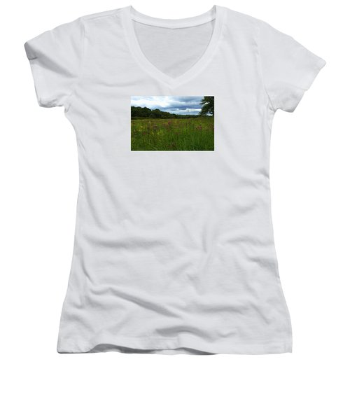 Women's V-Neck T-Shirt (Junior Cut) featuring the photograph Field Of Color by Bruce Carpenter