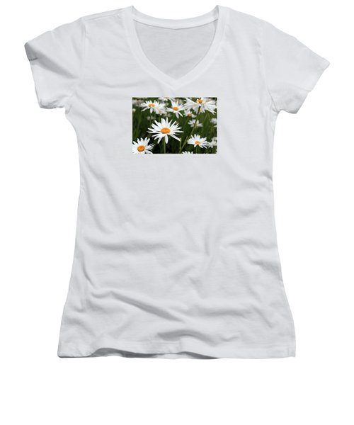 Field Of Daisies Women's V-Neck T-Shirt (Junior Cut) by Dorothy Cunningham