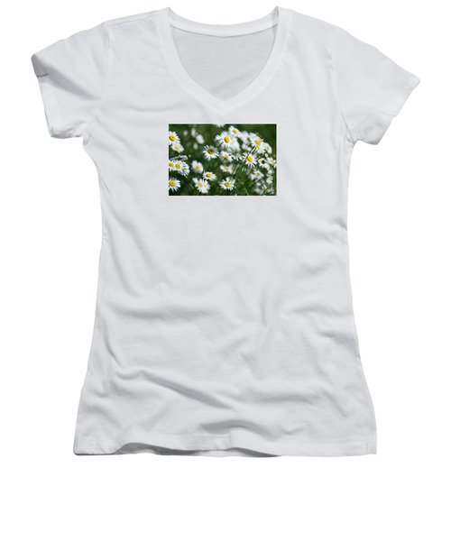 Women's V-Neck T-Shirt (Junior Cut) featuring the photograph Field Of Daisy's  by Alana Ranney