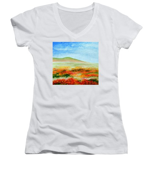 Women's V-Neck T-Shirt (Junior Cut) featuring the painting Field Of Poppies by Jamie Frier
